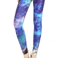 Galaxy Leggings  -  Blue & Purple Print/ Outer Space Galaxy Leggings,  Celestial tights, Planets, Science Fiction