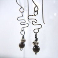 Niobium Wire Abstract Earrings with Garnet and Pewter Accent