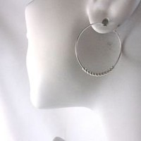 Argentium Sterling Silver Hoops with Tiny Silver Beads