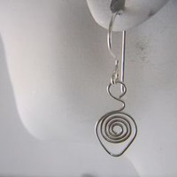 Spiral Teardrop Argentium Sterling Silver Wire Wrapped Earrings