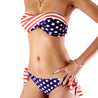 American Stars and Stripes Bandeau Bikini