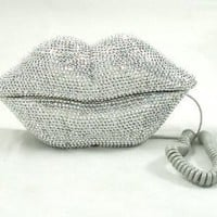 Amazon.com: Hot Lips Phone - Silver Rhinestone: Home &amp; Kitchen