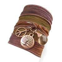 Silk Wrap Bracelet with Tree of Life by charmeddesign1012