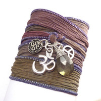 Silk Ribbon Bracelet with Om charms and Peace Sign by charmeddesign1012