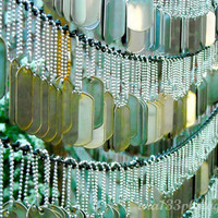 "Mint Dog Tags Photography, Still Life Photograph, Green Patriotic Wall Art Home Decor - 5x7 inch Military Peace Photo Print - ""Away"""