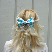 Aqua and white chevron bow hair clip - big bow - bow barrette - kawaii