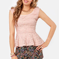 Lace Makes Waist Blush Pink Top