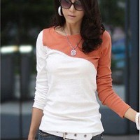 # Free Shipping # Women Orange Cotton Top One Size WO0384o from ViwaFashion