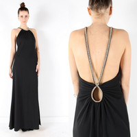 Party dress // Vintage 80s 90s // black maxi dress by shopCOLLECT