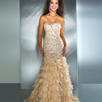 Mac Duggal Prom 2013- Strapless Nude Gown With Feathers - Unique Vintage - Cocktail, Pinup, Holiday & Prom Dresses.