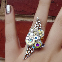 Steampunk ring, silver steampunk, filigree ring, boho ring, angel ring, magic ring, watch gear ring, galaxy ring, OOAK
