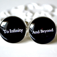 To infinity and beyond cufflinks - wedding day keepsake gift for groom, husband