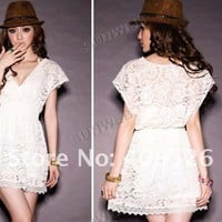 SUPER Q Korean Style Fashion Lace V-neck Tunic Fitted Trim Tunic Dress 2711
