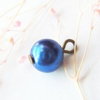 Add On Charm Electric Blue Metallic Pearl Dangle