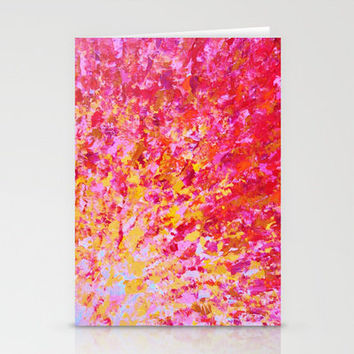 ROMANTIC DAYS - Lovely Sweet Romance, Valentine's Day Sweetheart Pink Red Abstract Acrylic Painting Stationery Cards by EbiEmporium | Society6