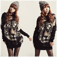 Tiger Printed Batwing Knitted Sweater