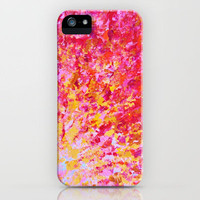 ROMANTIC DAYS - Lovely Sweet Romance, Valentine's Day Sweetheart Pink Red Abstract Acrylic Painting iPhone Case by EbiEmporium | Society6