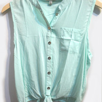 Mint Front Knot Blouse