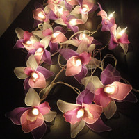 20 Pink-White-Purple Orchid Flower Fairy String Lights Wedding Party Floral Home Decor 3.5m