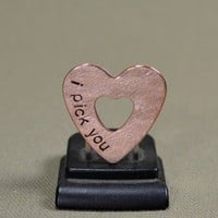 Heart shaped mini guitar pick in copper