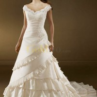 White A-line Off-The-Shoulder V-Neck Beading Applique Floor Length Satin Lace Wedding Dress - US$232.99 - Goldwo.com