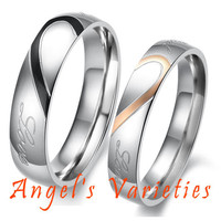 Heart Shape Matching Titanium Wedding Band Rings