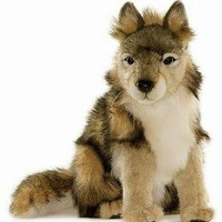 Hansa Wolf Cub Stuffed Plush Animal, Sitting