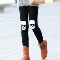 Elastic Cotton Skull Heads PrintingBlack Legging  from Fashion4you