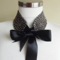 detachable peter pan collar necklace beads bridal wedding christmas gift for her grey black
