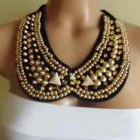 FREE SHIPPING peter pan collar necklace beads bridal wedding christmas gift for her black golden nr. 08