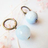 Add On Charm Pastel Sky Blue Lace Agate Stone Dangle