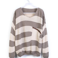 Light Coffee Striped Pocket Bat Long Sleeve Sweater