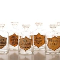 One Kings Lane - Zingaro - Set of 6 Painted Apothecary Bottles
