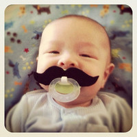 Mustache Pacifier  Black Strongman by BabyHipsters on Etsy