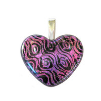 Hot Pink Heart, Dichroic Jewelry Slide, Artisan Jewelry - Real Love - 3235 -2