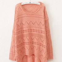 Pink Curved Hum Knit Holey Texture Long Sweater