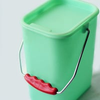 Vintage Mint Plastic Canister with Red Handle