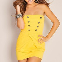 Nautical Vibrant Yellow Strapless Tube Top Yacht Cocktail Dress