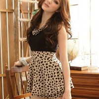 Modern Fashion Leopard Stripe Ladies Dresses Black : Wholesaleclothing4u.com