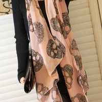 Unique Style Skull Print Long Scarf in Pink from 1Point99.com