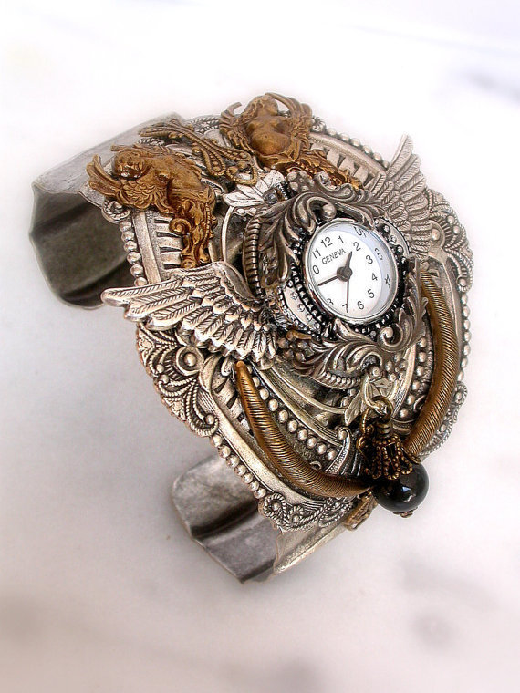 Valkyries and Goddesses  Gothic Steampunk Cuff by LeBoudoirNoir