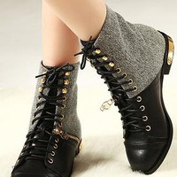 Metallic Skull Lace up Boots from AlisonSman