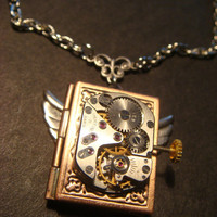 Steampunk Neo Victorian Watch Movement LOCKET Necklace with Wings (808)
