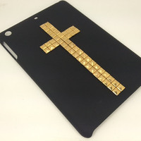Black back cover case for Apple iPad Mini with gold studded cross available in more colors Pink Purple Royal Blue