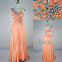 One Shoulder Sweetheart with Beading Chiffon Long Prom Dresses Evening Gown, Evening Dresses, Wedding Party Dresses