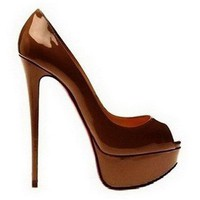 Christian Louboutin Peep 150 Patent Leather Pumps Coffee - $190.00