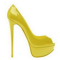 Christian Louboutin Peep 150 Patent Leather Pumps Yellow - $190.00