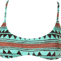 "Women's Billabong ""Tribal Town Tiana"" Bikini Top Teal Medium NWT"