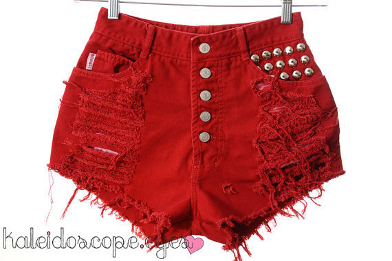 Vintage Bongo Red Denim HIGH WAIST by kaleidoscopeeyesvtg on Etsy