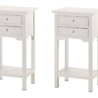 2 Wood WHITE END TABLES NIGHT STANDS WITH 2 DRAWERS